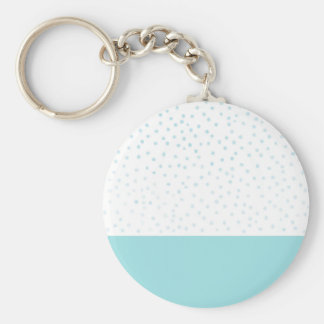 Modern blue watercolor polka dots pattern basic round button key ring