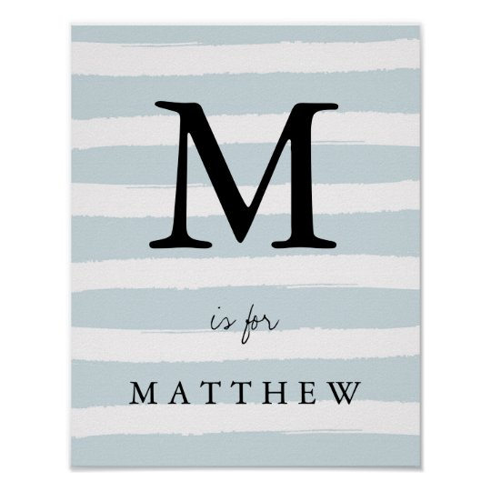 Modern Blue Watercolor Stripes with Black Monogram Poster