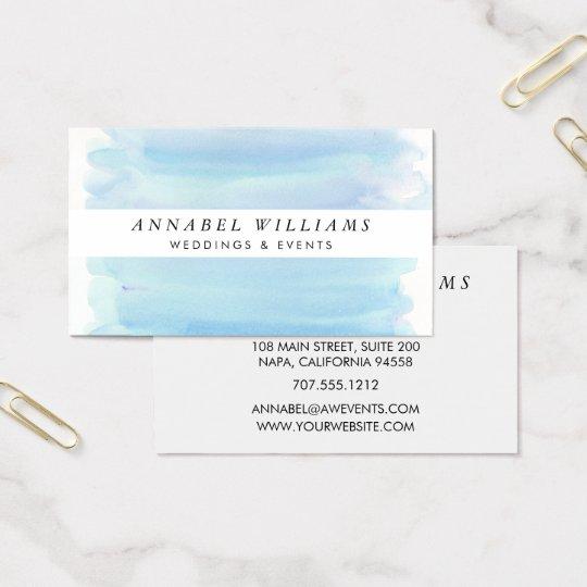 Modern Blue Watercolor & White Stripe Business Card