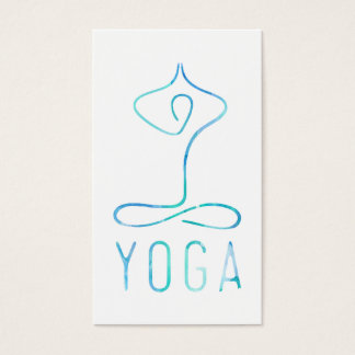 Modern blue watercolor yoga class bohemian namaste business card