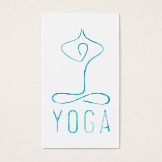 Modern blue watercolor yoga class bohemian namaste business