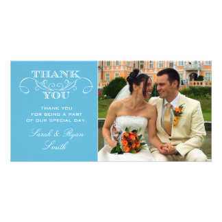 Modern Blue Wedding Photo Thank You Cards Personalized Photo Card