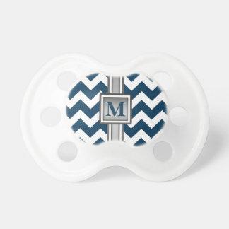 Modern Blue White Grey Monogrammed Chevron Dummy