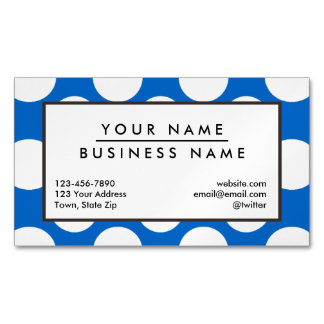 Modern Blue White Polka Dots Pattern Magnetic Business Cards