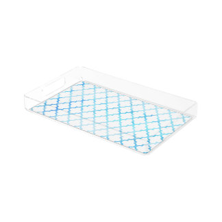 Modern blue white watercolor quatrefoil pattern acrylic tray