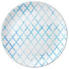 Modern blue white watercolor quatrefoil pattern plate