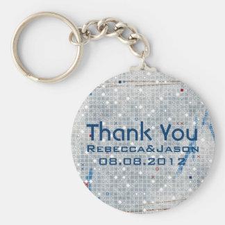 Modern Blue white wedding Umbrella Bridal Shower Basic Round Button Key Ring