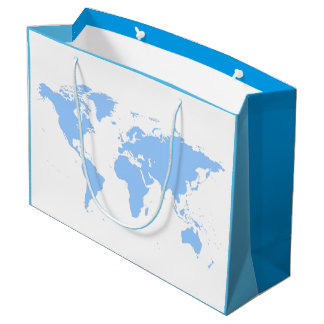 MODERN BLUE WORLD MAP DESIGN LARGE GIFT BAG