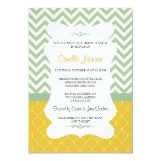 Modern Blue & Yellow Elegant Chevron Bridal Shower 13 Cm X 18 Cm Invitation Card