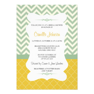 Modern Blue Yellow Elegant Chevron Bridal Shower Custom Announcement