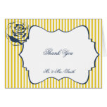 Modern Blue Yellow Stripe Wedding Thank You Note Card