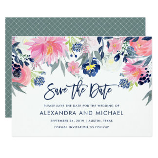 Modern Blush and Navy Floral Wedding Save the Date Card