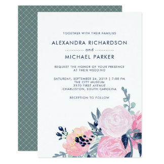 Modern Blush and Navy Floral Wedding | Vertical Card
