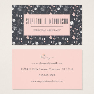 Modern Blush & Charcoal Floral Print Business Card