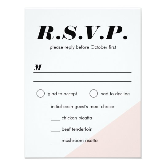 Modern Blush Colour Block Wedding Reply Card