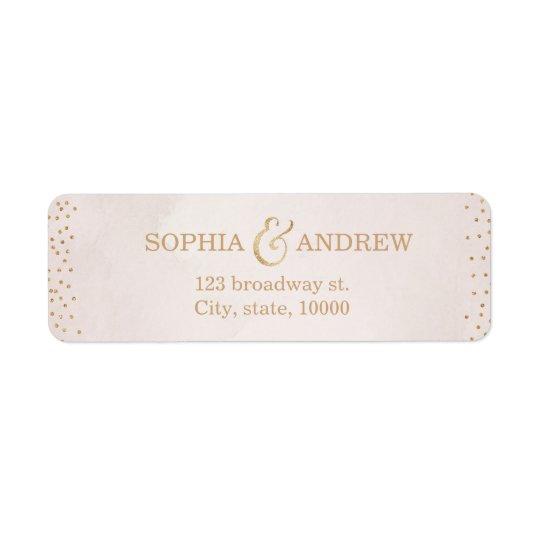 Modern blush faux glitter rose gold return address
