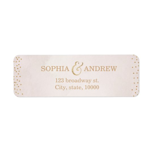 Modern blush faux glitter rose gold return address