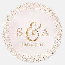 Modern blush glitter rose gold wedding monogram classic round sticker