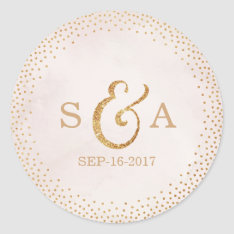 Modern Blush Glitter Rose Gold Wedding Monogram Classic Round Sticker at Zazzle
