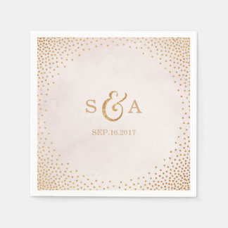 Modern blush glitter rose gold wedding monogram disposable serviette