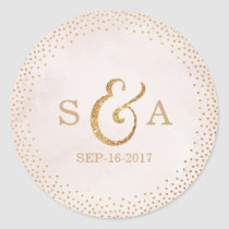 Modern blush glitter rose gold wedding monogram round sticker
