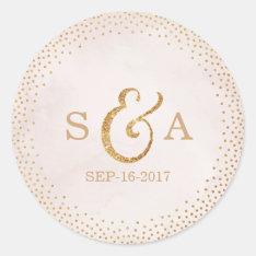 Modern Blush Glitter Rose Gold Wedding Monogram Round Sticker at Zazzle