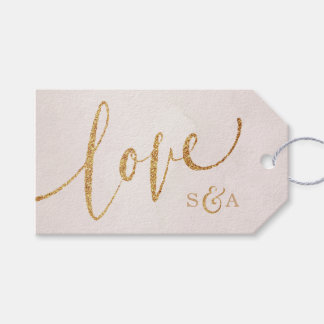 Modern blush glitter rose gold with love monogram gift tags