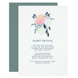 Modern Blush Pink and Navy Floral Guest Details Card
