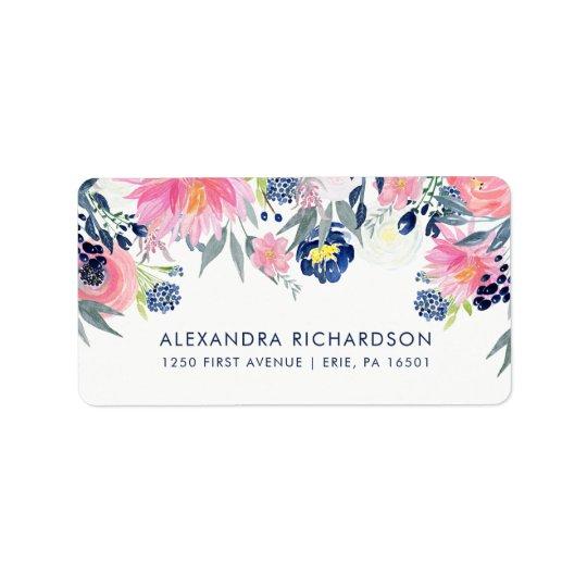 Modern Blush Pink and Navy Floral Wedding Address