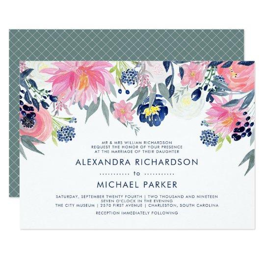 Modern Blush Pink and Navy Floral Wedding Card