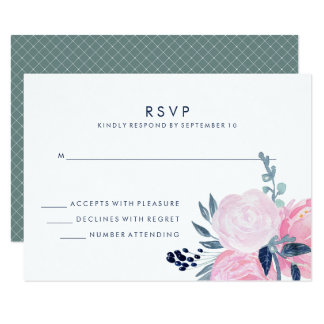 Modern Blush Pink and Navy Floral Wedding RSVP Card