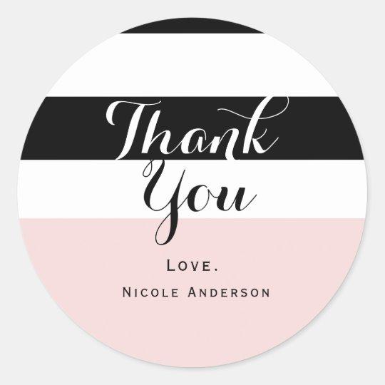 Modern Blush Pink Black & White Stripe Party Classic Round Sticker