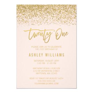 Modern Blush Pink Faux Gold Glitter 21st Birthday 13 Cm X 18 Cm Invitation Card