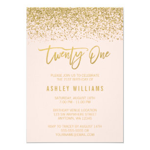 21st birthday invitations announcements zazzle uk modern blush pink faux gold glitter 21st birthday invitation stopboris Images