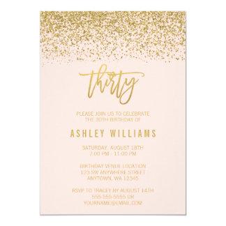 Modern Blush Pink Faux Gold Glitter 30th Birthday 13 Cm X 18 Cm Invitation Card