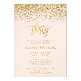 30th birthday invitations announcements zazzle uk modern blush pink faux gold glitter 30th birthday card filmwisefo Images