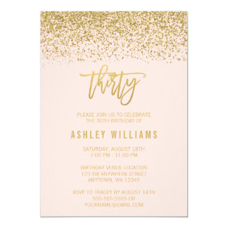 Modern Blush Pink Faux Gold Glitter 30th Birthday Card