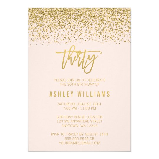 Modern Blush Pink Faux Gold Glitter 30th Birthday Invitation