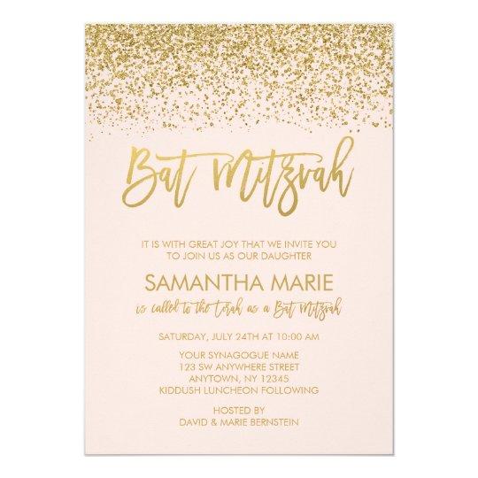 Modern Blush Pink Faux Gold Glitter Bat Mitzvah