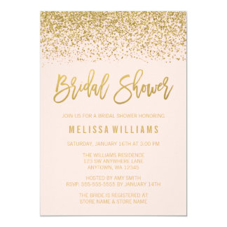 Modern Blush Pink Faux Gold Glitter Bridal Shower Card
