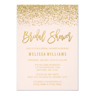 Bridal shower invitations zazzle modern blush pink faux gold glitter bridal shower invitation filmwisefo