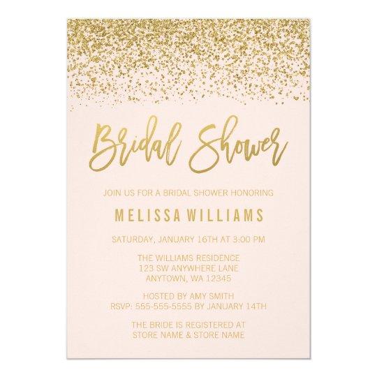 modern blush pink faux gold glitter bridal shower invitation