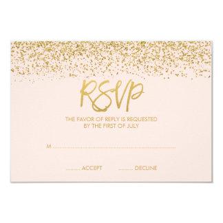 Modern Blush Pink Faux Gold Glitter RSVP Card