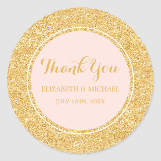 Modern Blush Pink Faux Gold Glitter Wedding Classic Round Sticker