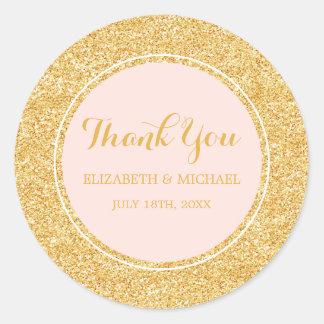 Modern Blush Pink Faux Gold Glitter Wedding Round Sticker