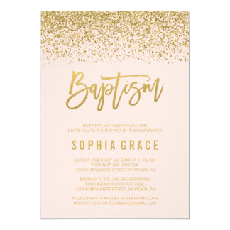 Modern Blush Pink Gold Faux Glitter Baptism Invite