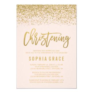 Modern Blush Pink Gold Faux Glitter Christening Card