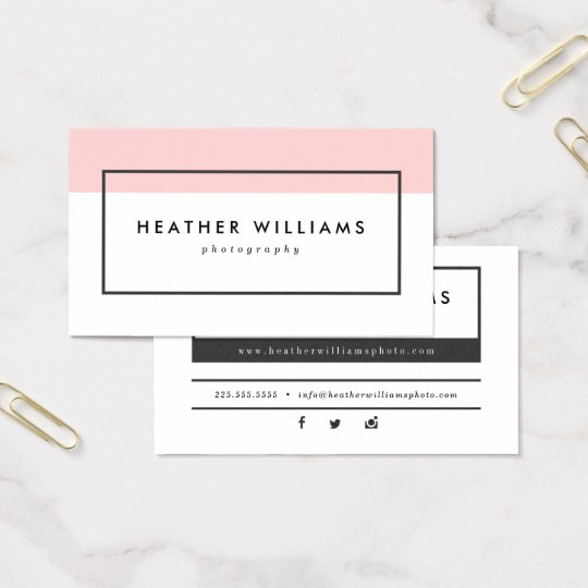 Modern Blush Pink Photography Business Cards