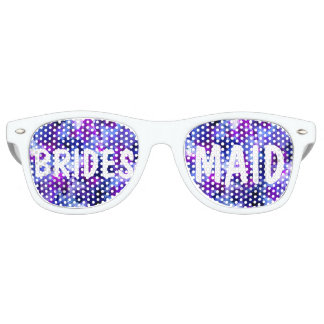 Modern blush pink watercolor Bridesmaid Retro Sunglasses