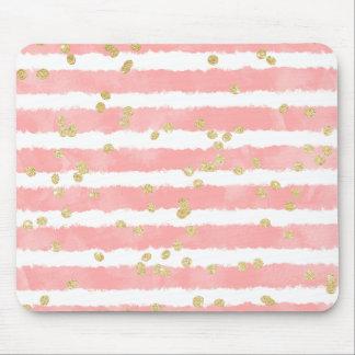 Modern blush pink watercolor stripes gold confetti mouse mat